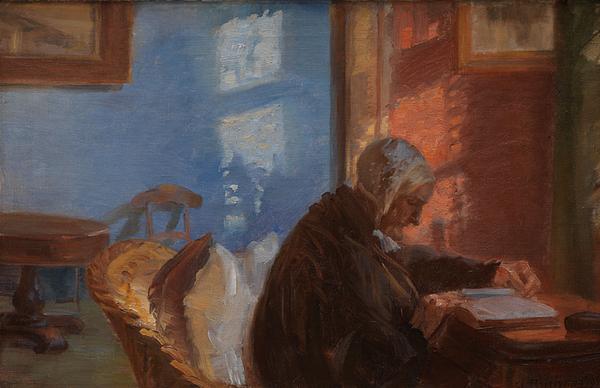 Anna Ancher  Kunstnerens mor Ane Hedvig Braendum i den blaa stue  1909  SMK